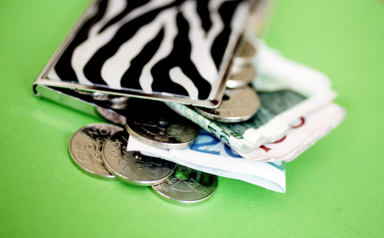 En pung med sedler ligger på et grønt bord