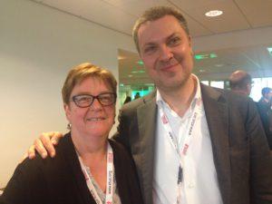 YS-leder Jorunn Berland sammen med ETUCs generalsekretær Luca Visentini. Foto: Frode Sandberg