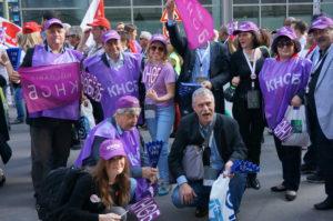 Bulgarsk fagbevegelse i akjson under ITUC-kongressen i 2014. Foto: Frode Sandberg