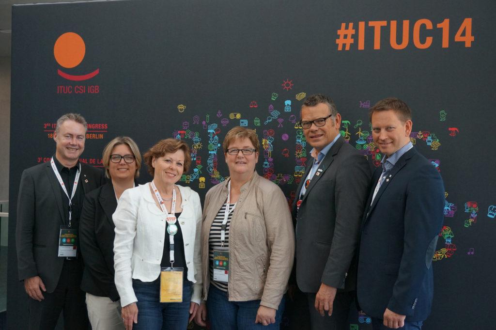 YS-delegasjonen under ITUC-kongressen i 2014. Foto: Frode Sandberg