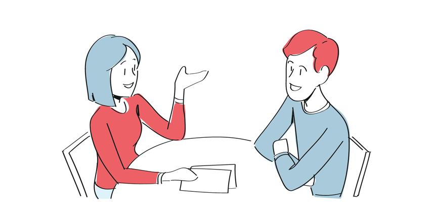 Illustrasjon som viser en kvinne og en mann som sitter og snskker sammen ved et bord.